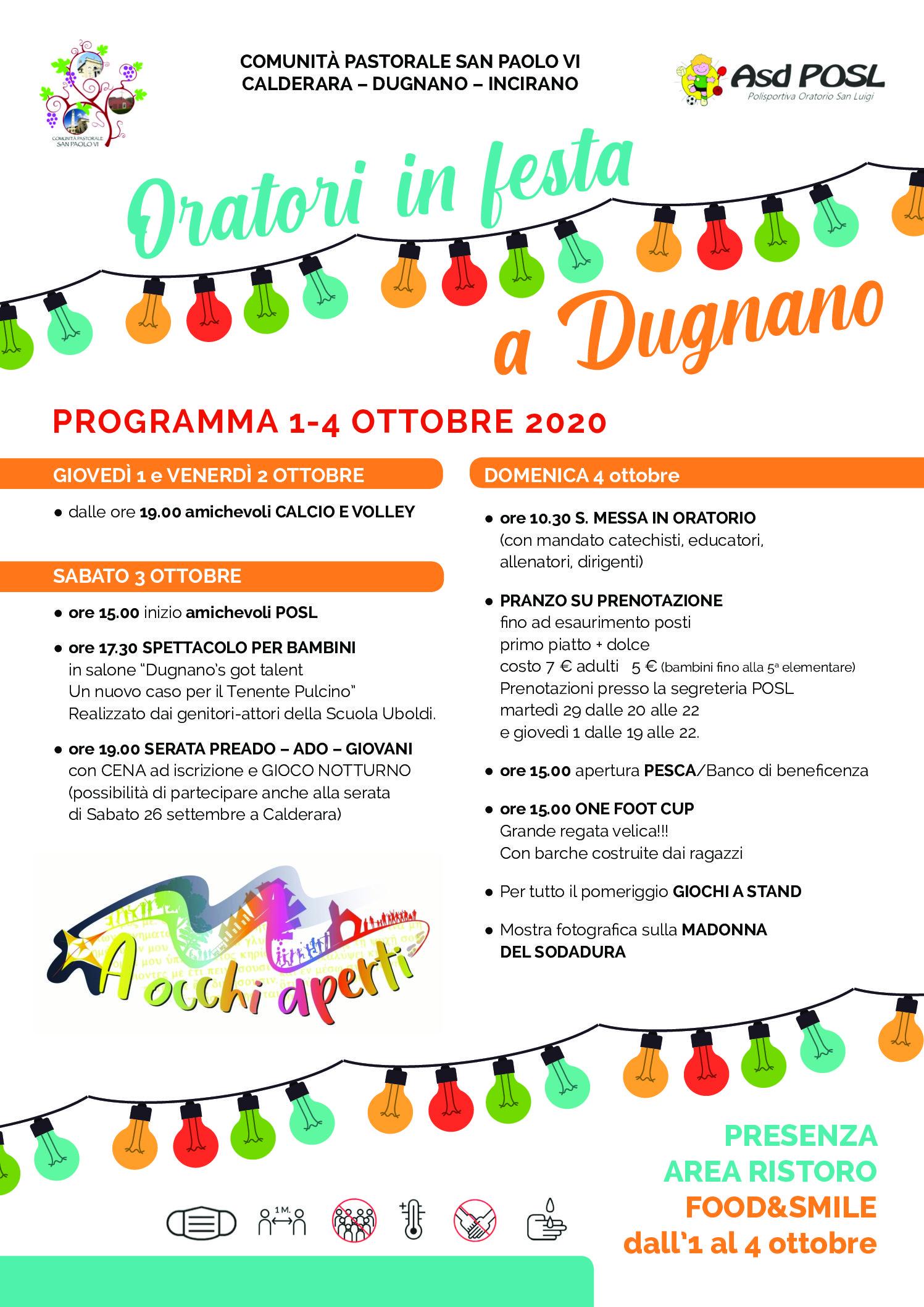 1-4 ottobre 2020: la POSL alla Festa dell'Oratorio di Dugnano